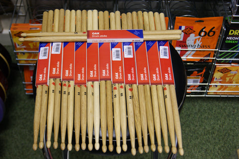 Chord oak drum sticks 5A wood tipped (12 pairs)
