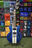 Indie 335 Semi acoustic guitar in 2 tone metallic blue and white S/H