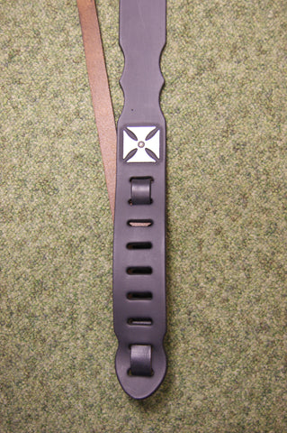 Guitar strap DTC4 black leather by Onori iron cross design