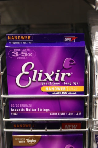 Elixir 11002 Nanoweb coated extra light 10-47 acoustic guitar strings 80/20 bronze