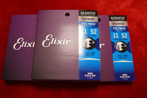 Elixir 11050 Polyweb 12.53 acoustic guitar strings light (3 PACKS)