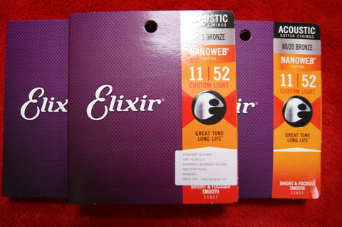 Elixir 11027 Nanoweb coated custom light 11-52 acoustic guitar strings (3 PACKS)