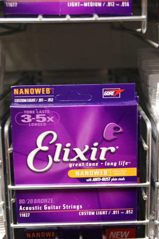 Elixir 11027 Nanoweb coated custom light 11-52 acoustic guitar strings