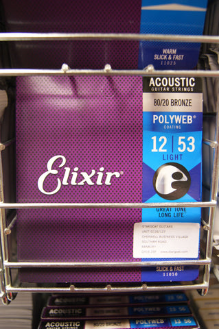 Elixir 11050 Polyweb 12-53 light acoustic guitar strings (5 PACKS)