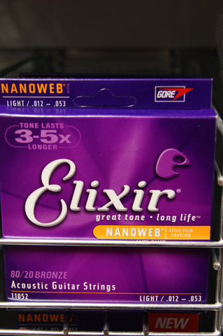 Elixir 11052 Nanoweb coated light 12-53 acoustic guitar strings (2 PACKS)
