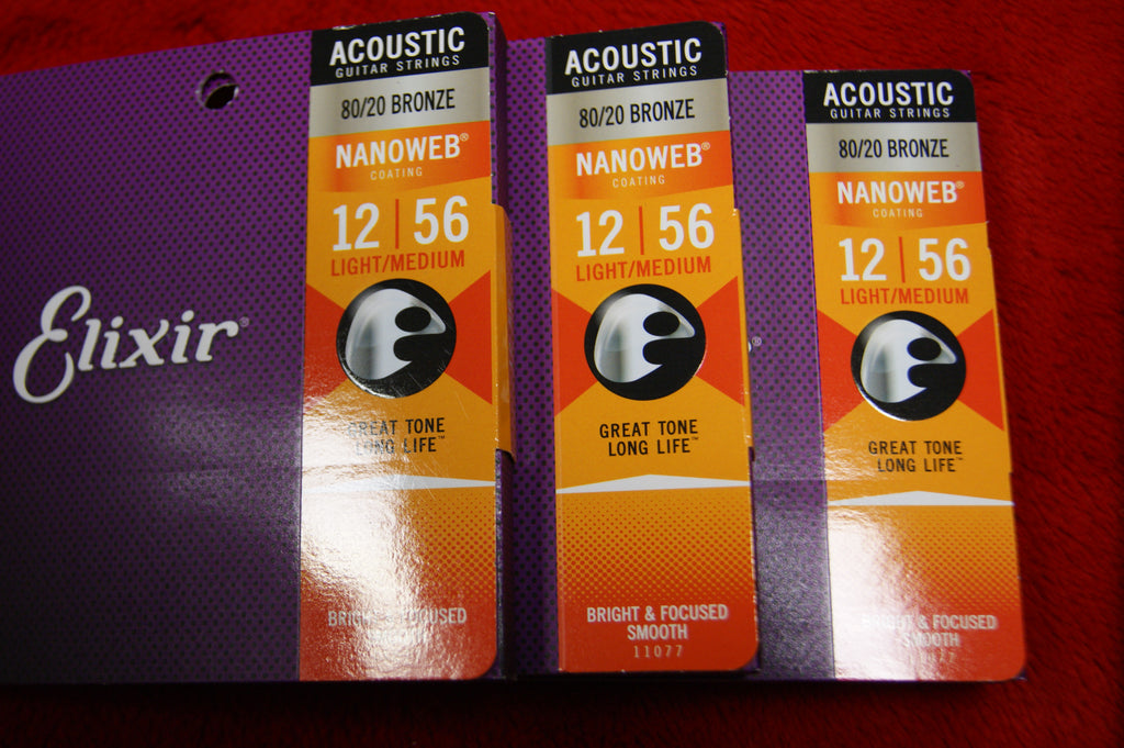 Elixir 11077 Nanoweb coated light/medium 12-56 acoustic guitar strings (3 PACKS)