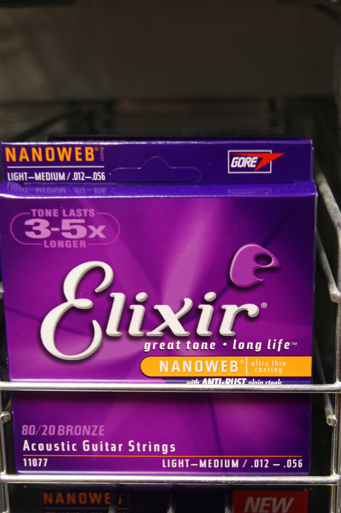 Elixir 11077 Nanoweb coated light/medium 12-56 acoustic guitar strings (2 PACKS)