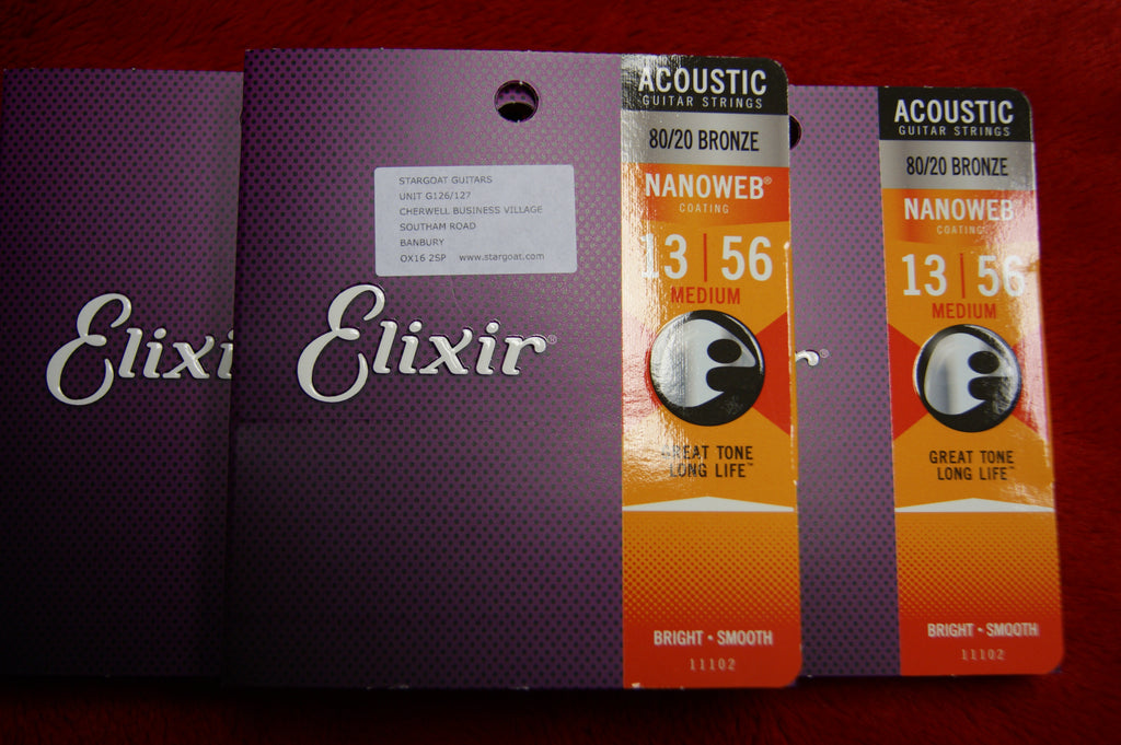Elixir 11102 Nanoweb medium 13-56 acoustic guitar strings (3 PACKS)
