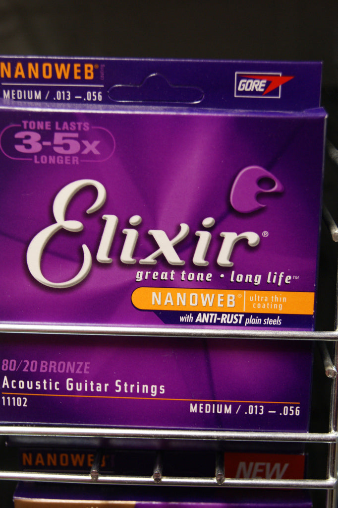 Elixir 11102 Nanoweb medium 13-56 acoustic guitar strings (2 PACKS)