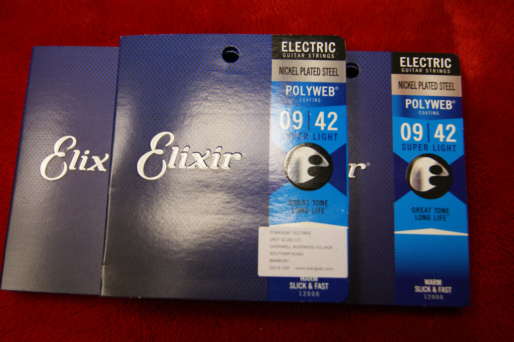 Elixir 12000 Polyweb super light electric guitar strings 9-42 (3 PACKS)