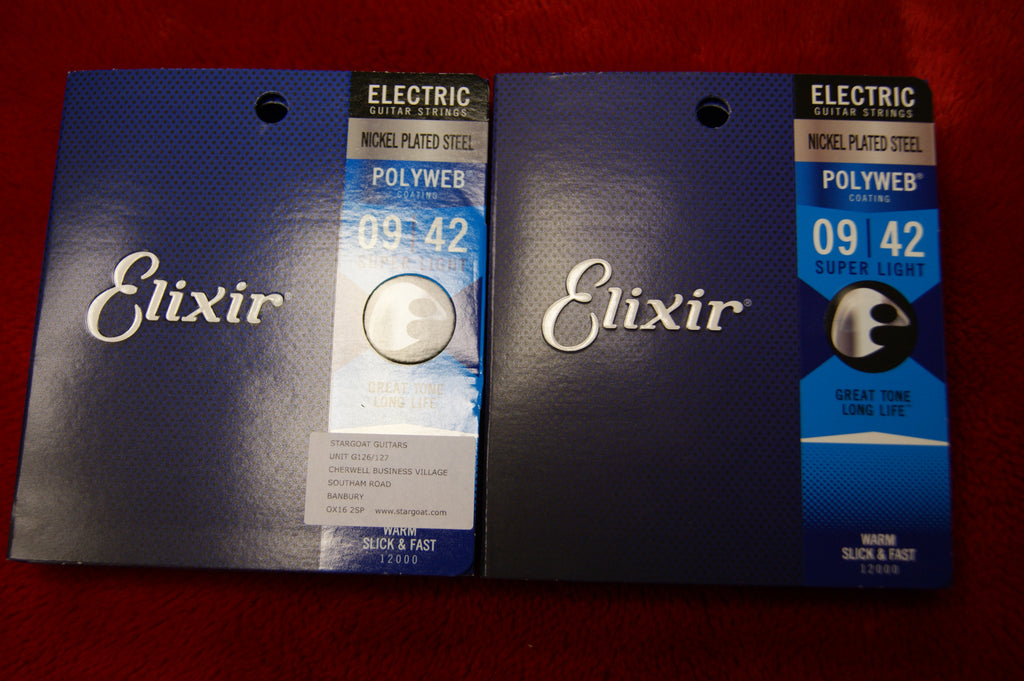 Elixir 12000 Polyweb super light electric guitar strings 9-42 (2 PACKS)
