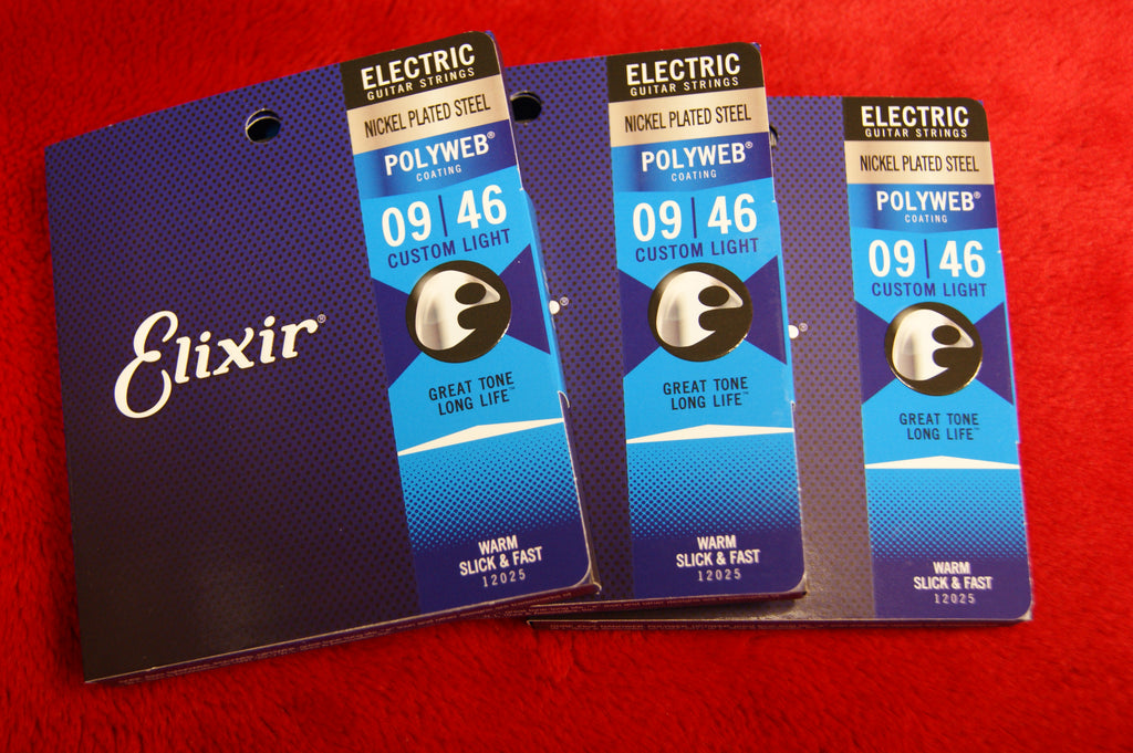 Elixir E12025 Polyweb coated 9-46 custom light electric guitar strings