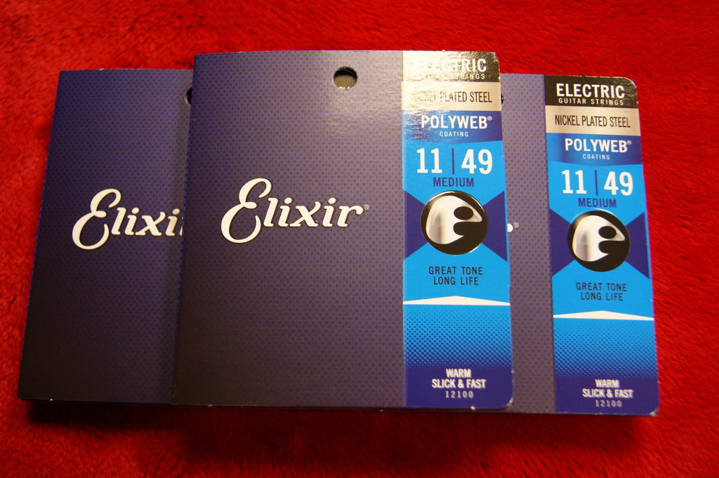 Elixir 12100 Polyweb super light electric guitar strings 11-49 (3 PACKS)