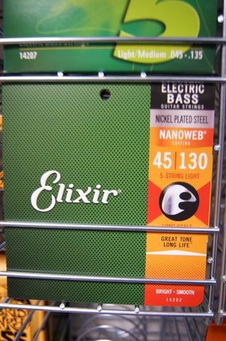 Elixir 14202 Nanoweb coated 5 string bass guitar set 45-130
