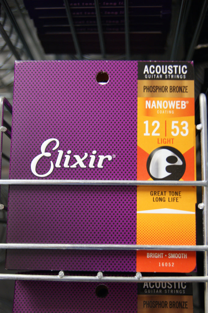 Elixir Nanoweb 16052 phosphor bronze acoustic guitar strings 12-53 (3 PACKS)