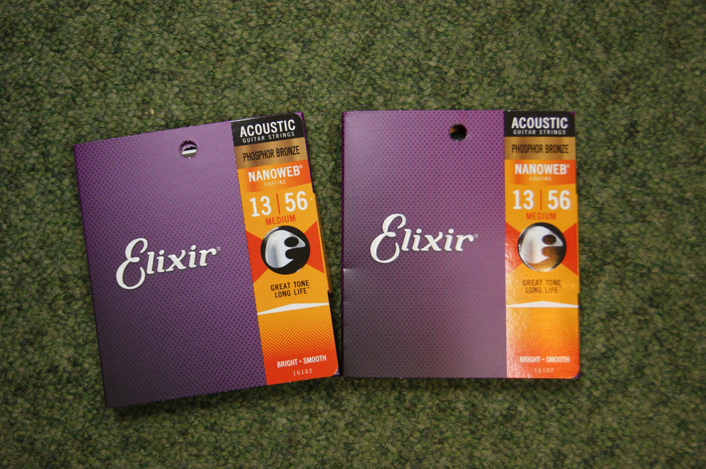 Elixir 16536 Nanoweb 13-56 twin pack medium acoustic guitar strings