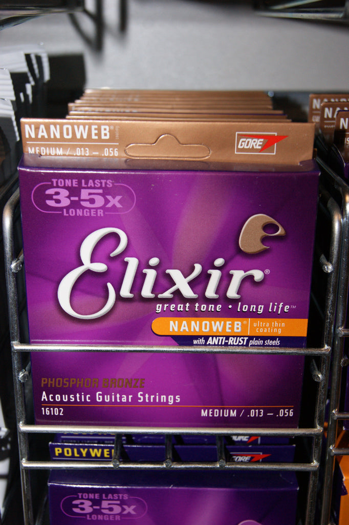 Elixir Nanoweb coated 16102 medium 13-56 phosphor bronze acoustic guitar strings (3 PACKS)