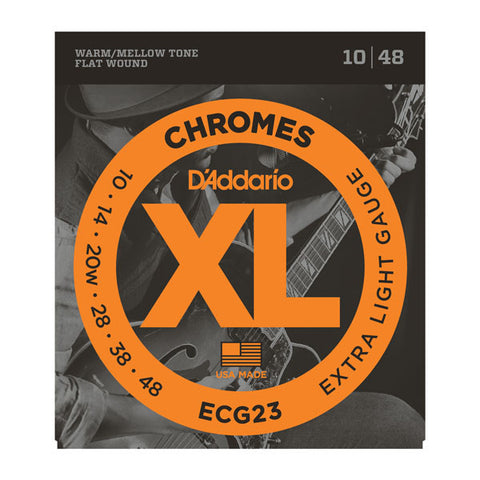 D'Addario ECG23 flatwound XL Chromes 10-48 electric guitar strings (2 PACKS)