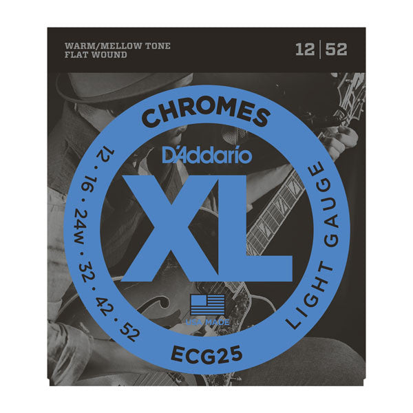 D'Addario ECG25 XL Chromes flatwound light gauge 12-52 electric guitar strings