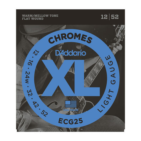 D'Addario ECG25 XL Chromes flatwound light gauge 12-52 electric guitar strings (2 PACKS)