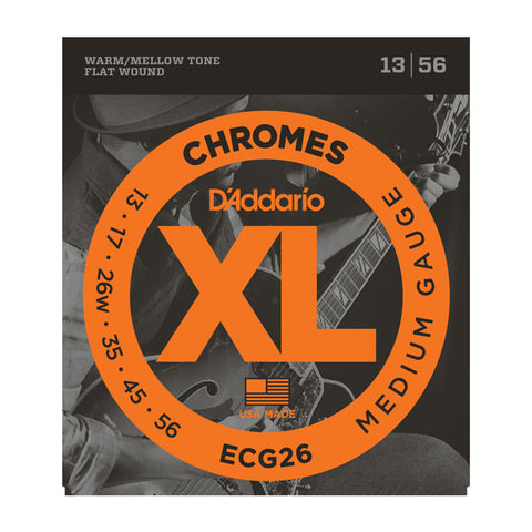 D'Addario ECG26 XL chromes medium gauge 13-56 flat wound electric guitar strings (2 PACKS)