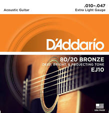 D'Addario EJ10 extra light acoustic guitar strings 10-47 (2 PACKS)
