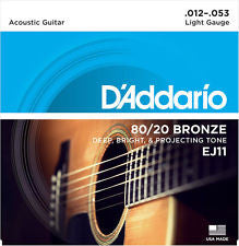 D'Addario EJ11 light gauge acoustic guitar strings 12-53