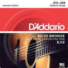 D'Addario EJ12 medium acoustic guitar strings 13-56 (2 PACKS)