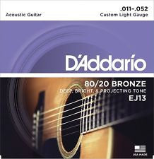 D'Addario EJ13 custom light acoustic guitar strings 11-52 (2 PACKS)