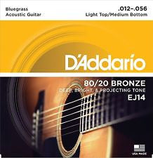 D'Addario EJ14 Bluegrass 12-56 acoustic guitar strings