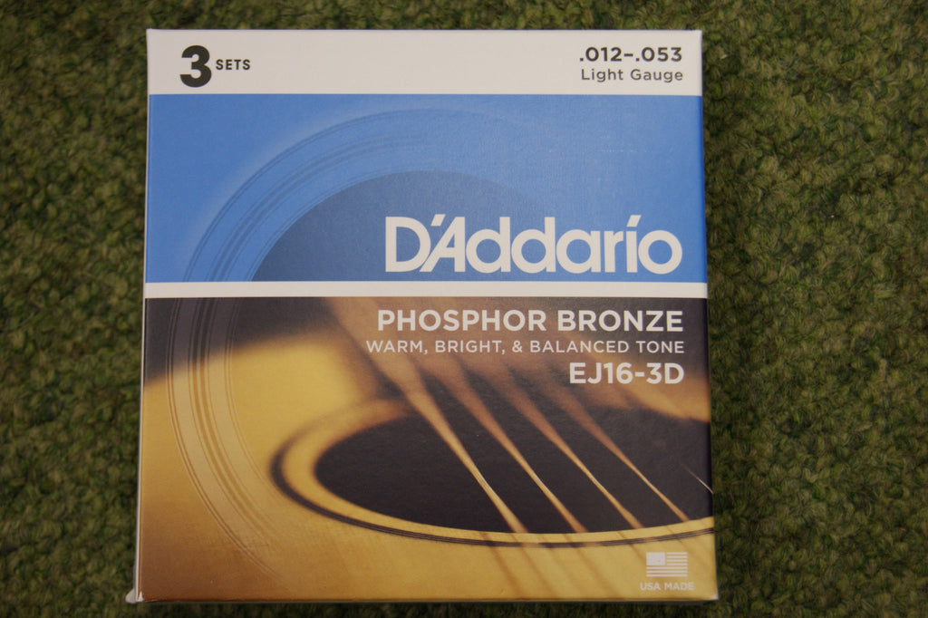D'Addario EJ16-3D light gauge 12-53 acoustic guitar strings 80/20 bronze triple pack