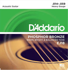D'Addario EJ18 heavy gauge acoustic guitar strings 14-59 (3 PACKS)