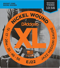 D'Addario EJ22 jazz medium gauge 13-56 electric guitar strings (2 PACKS)