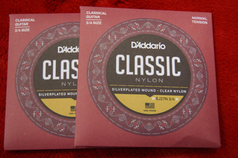 D'Addario EJ27N 3/4 size strings for classical guitar 3/4 size (2 PACKS)