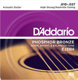 D'Addario EJ38H Nashville tuning acoustic guitar strings (2 PACKS)