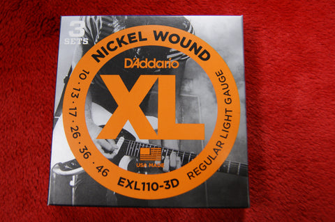 D'Addario EXL110-3D 10/46 regular light gauge nickel wound electric guitar strings (TRIPLE PACK)