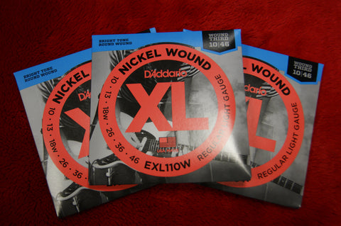 D'Addario EXL110W 10-46 gauge nickel wound strings (3 PACKS)