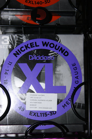 D'Addario EXL115-3D blues/jazz rock rock electric guitar strings 11-49, 11 gauge triple pack