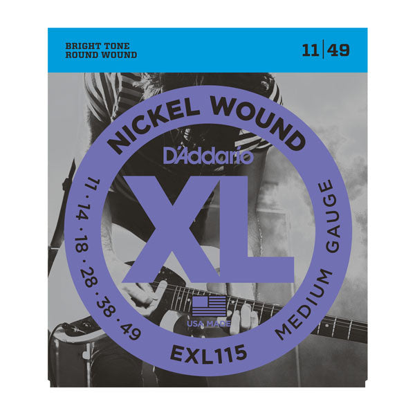 D'Addario EXL115 blues/jazz rock electric guitar strings 11-49 nickel round wound (2 PACKS)
