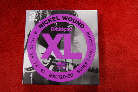 D'Addario EXL120-3D electric 9-42 gauge nickel wound guitar strings (TRIPLE PACK)