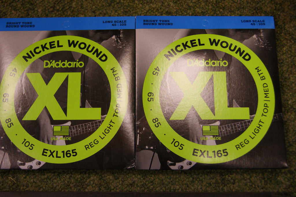 D'Addario EXL165 nickel wound long scale 45-105 bass guitar strings (2 PACKS)