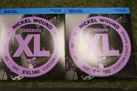 D'Addario EXL190 nickel wound long scale 40-100 bass guitar strings