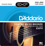 D'Addario EXP11 light gauge 12-53 coated acoustic strings TRIPLE PACK