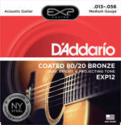 D'Addario EXP12 medium gauge 13-56 acoustic guitar strings (2 PACKS)