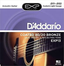 D'Addario EXP13 custom light gauge 11-52 coated acoustic strings (3 PACKS)