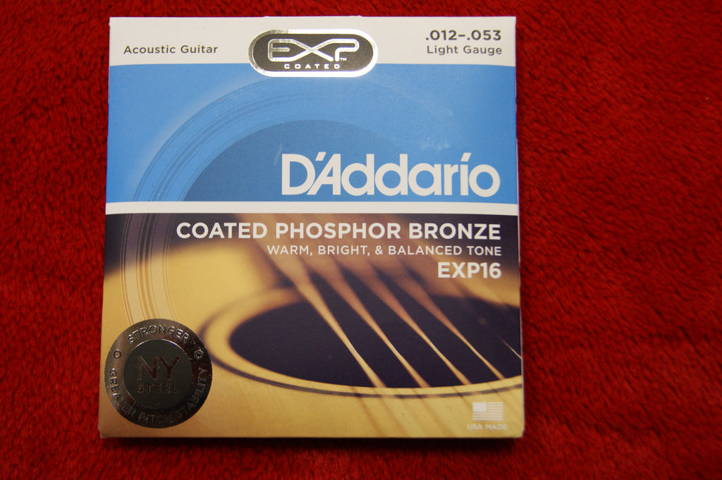D'Addario EXP16 phosphor bronze light gauge 12-53 acoustic guitar strings