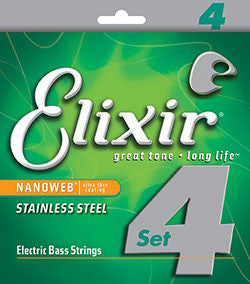 Elixir 14702 Nanoweb stainless steel bass guitar strings 50-105