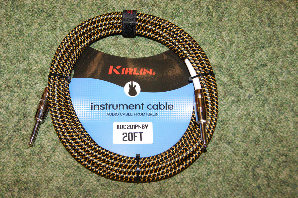 Guitar lead by Kirlin 20ft fabric yellow/black