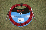 Guitar lead by Kirlin 10ft braided fabric red/black