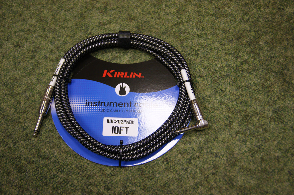 Guitar lead by Kirlin 10ft fabric black/silver R/A